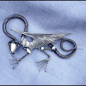 Vintage, Giant, Silver Dragon Brooch